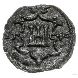 obol 1546, Wilno; Aw: Monogram SA w tarczy, Rw: Herb Ko...