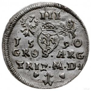 trojak 1590, Wilno; z herbem podskarbiego Demetriusza C...