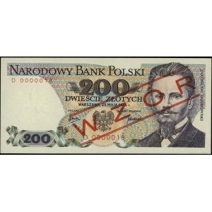 200 złotych 25.05.1976, seria D, numeracja 0000018, cze...
