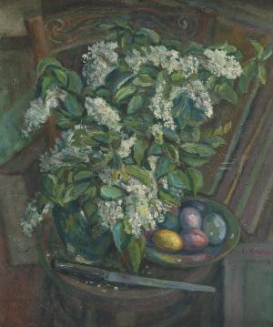 Emil Krcha (1894-1972), Martwa natura z białymi bzami, [1943]