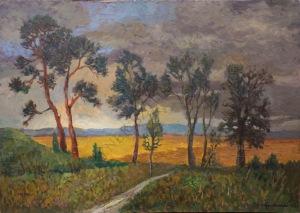 Jerzy Gnatowski (1928-2012), Pejzaż z żółtymi polami (1959)