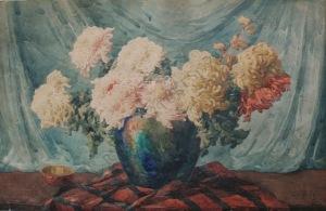 Teodor Grott (1884-1972), Chryzantemy w wazonie