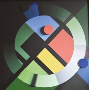 Radosław Sowiak (ur. 1950, Łódź), Warcaby z Mondrianem, 2018 r.
