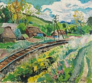 Stanisław BORYSOWSKI (1901-1988), Pejzaż z torami kolejowymi, przed 1939