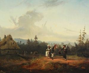 Franciszek KOSTRZEWSKI (1826-1911), Sprzeczka z żydowskim kupcem, 1853