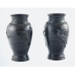 Para wazonów z motywem lecących czapli