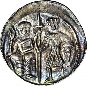 Bolesław Krzywousty 1107-1138, Denar, Biskup i rycerz, Krzyż kropki, MENNICZY