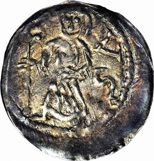 Bolesław I Wysoki 1163-1201, Denar, Wrocław, Walka z lwem/Biskup, R2, ok. menniczy