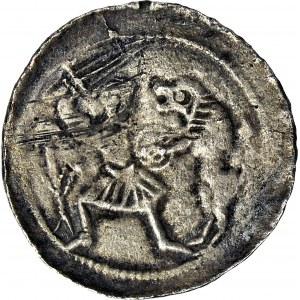 Władysław II Wygnaniec 1138-1146, Denar, Walka z lwem/ Książę i giermek, R2