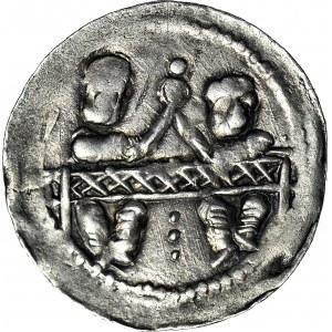 Bolesław Kędzierzawy 1146-1173, Denar Książęta za stołem, R1
