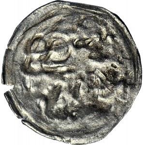 RR-, Śląsk, hrabstwo Kłodzkie, Jerzy z Podiebradu 1454-1462, halerz ok. 1460 ?, DWA AWERSY