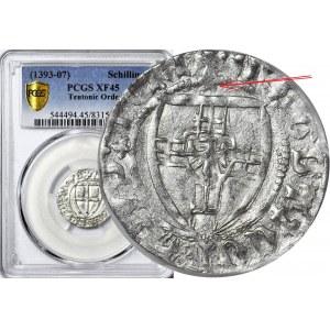 RR-, Zakon Krzyżacki, Konrad III von Jungingen 1393-1407, Szeląg, Malbork, litera X, R2