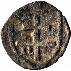 RRR-, Władysław Jagiełło 1386-1434, Denar Kraków, N w tarczy, R8