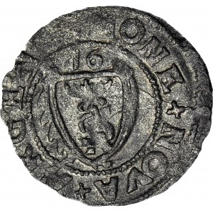 R-, Kurlandia, Gotthard Kettler, szeląg 1576, Mitawa