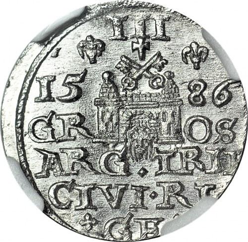 Stefan Batory, trojak 1586 Ryga, mała głowa, REX P, menniczy
