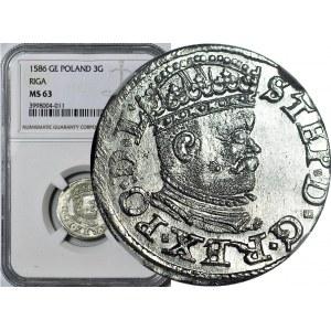 Stefan Batory, trojak 1586 Ryga, mała głowa, REX PO, menniczy
