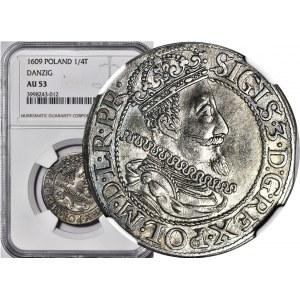 RR-, Zygmunt III Waza, Ort 1609, Gdańsk, rzadki rocznik