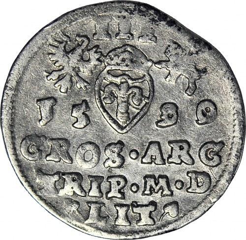 RR-, Zygmunt III Waza, Trojak 1589/90 Wilno, przebita data