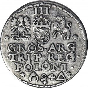 R-, Zygmunt III Waza, Trojak 1594, Malbork, litery O pierścienie, otwarty pierścień