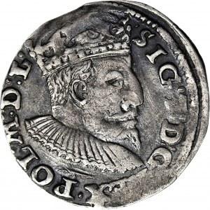 RR-, Zygmunt III Waza, Trojak 1595, Lublin, znak TOPÓR, data po bokach SNOPKA, T.30, Iger R6