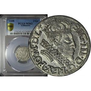 RRR-, Zygmunt III Waza, Trojak 1608, Wilno, nienotowany