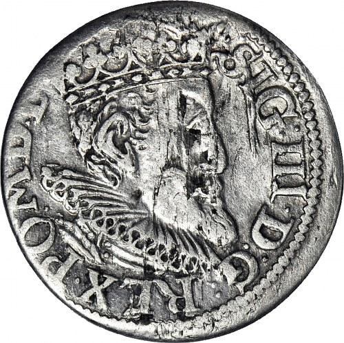 R-, Zygmunt III Waza, Trojak 1619, Ryga, Z LISEM, T.3 mk, rzadki