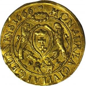 RR-, Jan II Kazimierz, Dukat 1666, Gdańsk, WĄSKIE POPIERSIE, R6