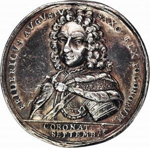 RR-, August II, Medal koronacyjny, 1697, J. Kittela – Wrocław