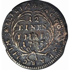 R-, August II Mocny, 1/12 talara 1705, fałszerstwo z epoki