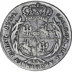RR-, August III Sas, 1733-1763, półtalar 1754, Lipsk, T.20 mk., R5