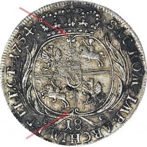 RR-, August III Sas, Ort 1754, Lipsk, tarcza otwarta zakończona zawijasami