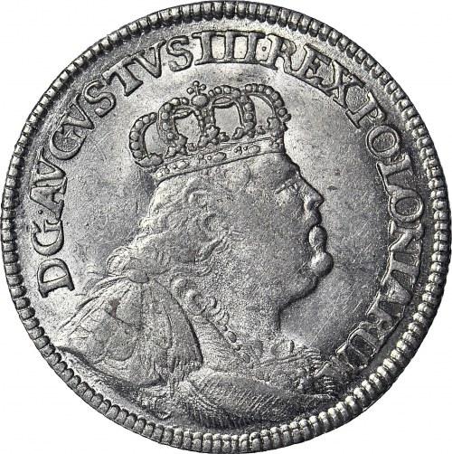 R-, August III Sas, Ort 1754, rzadkie popiersie, menniczy