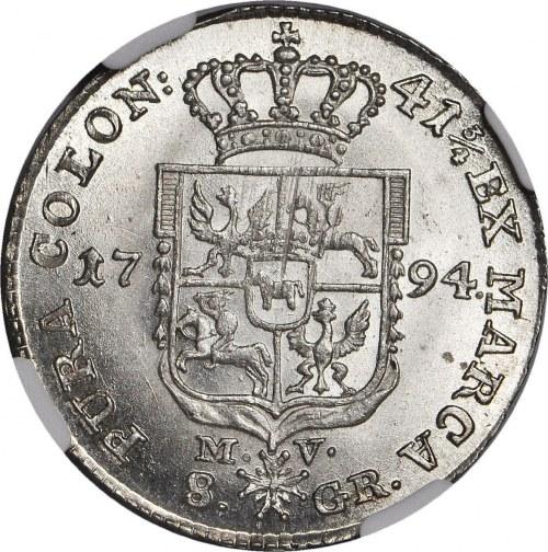 R-, Stanisław A. Poniatowski, Dwuzłotówka 1794, ułamek 3/4, Warszawa
