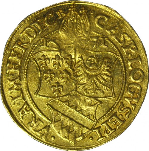 RRR-, Biskupstwo Wrocławskie, Kasper z Łagowa, Dukat 1571 Nysa, R7