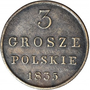 RR-, Królestwo Polskie, 3 grosze 1835, Iger R4, b. rzadkie