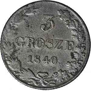 R-, Królestwo Polskie, 3 grosze 1840, kropka po roku