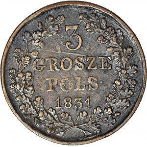 RR-, Powstanie Listopadowe, Trojak 1831, SKRĘTKA 160 stopni