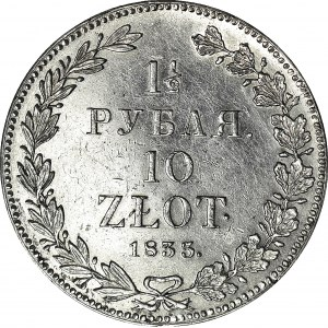 Zabór Rosyjski, 10 złotych = 1 1/2 rubla 1833, Petersburg, piękne