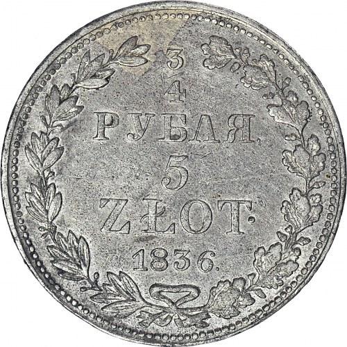 Zabór Rosyjski, 5 złotych = 3/4 rubla 1836, MW, piękne