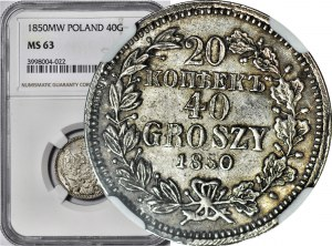 Zabór Rosyjski, 40 groszy = 20 kopiejek 1850 MW, Warszawa