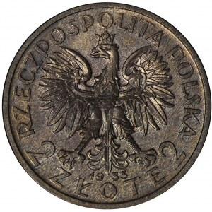 PRÓBA, 2 złote 1933, Głowa kobiety, brąz