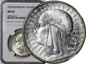10 złotych 1932 zm. (Warszawa), Głowa, mennicza