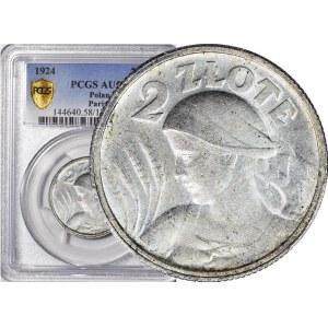 2 złote 1924, Żniwiarka, róg i pochodnia (Paryż), mennicza