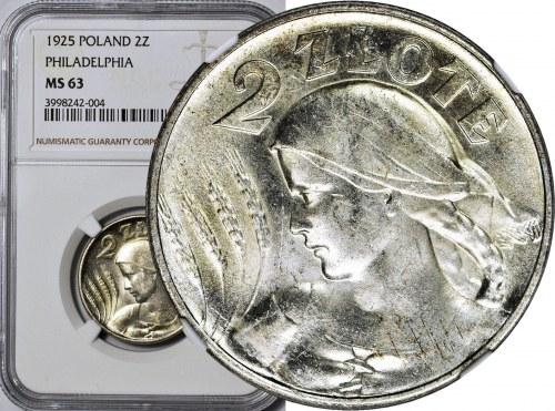 2 złote 1925, Żniwiarka, bez kropki (Filadelfia), mennicza