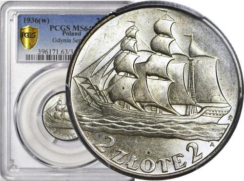 2 złote 1936, Żaglowiec, menniczy