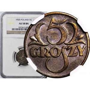 5 groszy 1925, ok. mennicze, kolor BN