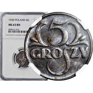 5 groszy 1930, mennicze, kolor BN