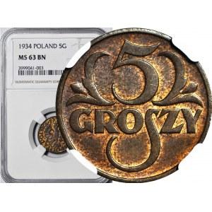 5 groszy 1934, mennicze, kolor BN