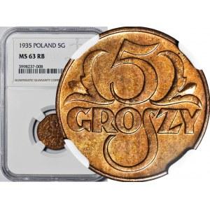5 groszy 1935, mennicze, kolor RB