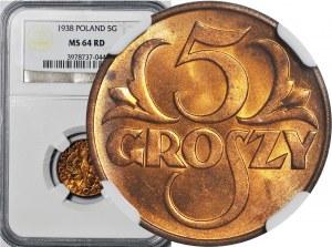 5 groszy 1938, mennicze, kolor RD